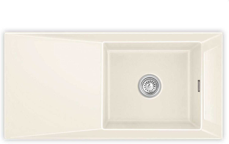 Systemceram Siro 100 Magnolie Keramik-Spüle Handbettigung Creme glnzend Einbau