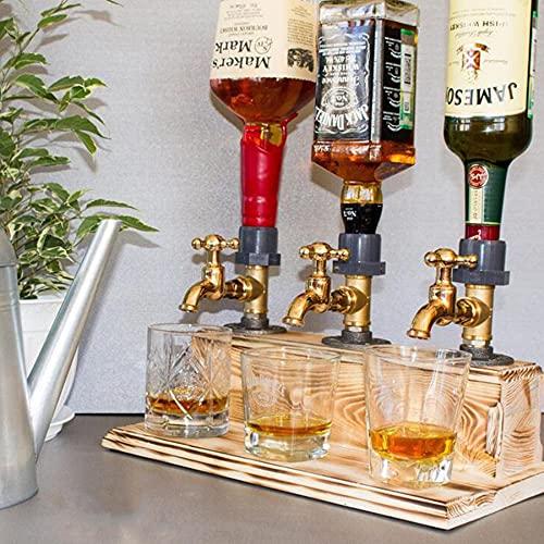 DJLOOKK Dispensador de Whisky de Madera, día del Padre, Licor, Alcohol, Whisky, dispensador, Forma de Grifo, Licor, Alcohol, dispensador, para Fiestas, cenas, Bares y Estaciones de Bebidas,Triple