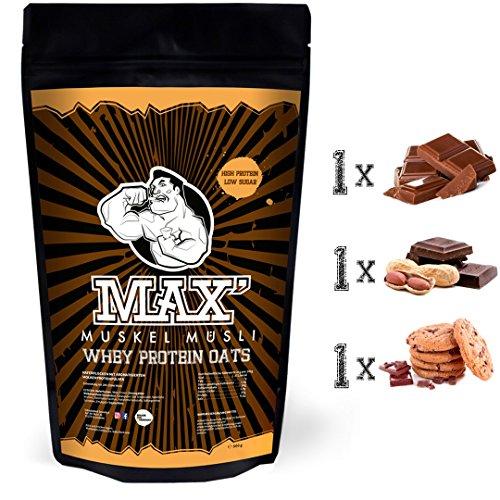 MAX MUSKEL MÜSLI Whey Protein Oats Müsli Haferflocken mit viel Eiweiß ohne Zucker-Zusatz Sportlernahrung für Muskelaufbau & gesundes Frühstück 3er Set Beutel Schoko Schoko-Erdnuss Schoko-Cookie
