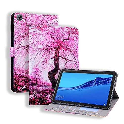 Miagon Coque pour Huawei MediaPad M5 Lite 8 Pouces 2019,PU Cuir Cover Housse Étui de Protection avec Support Emplacements Cartes,Cerise Fleurs