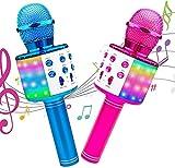 GIMS Karaoke Micrófono 2PACK ICNICE Mic Altavoz con LA LUZ MOSTRANDO FELUDING Handheld COCH Capa DE Karaoke para Canting Bluetooth Mic Compatible TV/iPhone/Android/PC Máquina Karaoke para niños