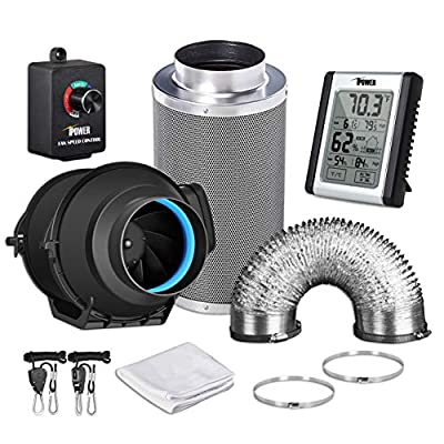 iPower Ducting with Speed Controller and Temperature Humidity Monitor and Grow Tent Ventilation