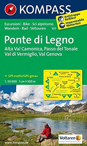 Carta escursionistica n. 107. Ponte di Legno-Alta Val Camonica-Passo del Tonale: Wandelkaart 1:50 000