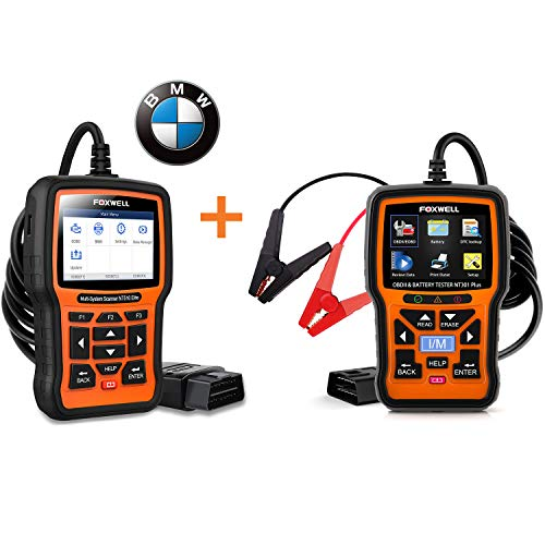 FOXWELL NT510 Elite Full Systems Scanner for BMW and FOXWELL NT301 Plus OBD2 Scanner with 12V Battery Tester