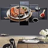 YFFSUN 5 Stück Wandkunst Gemälde Verschiedene Bunte Sushi