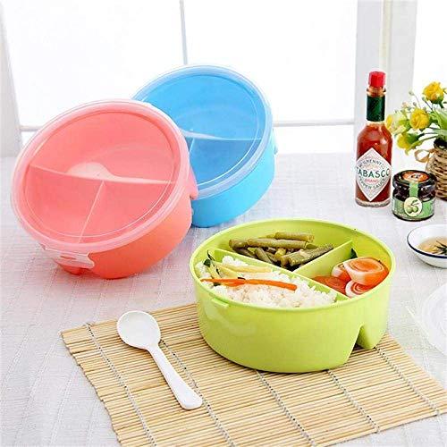 Lunchbox 17 * 7Cm Tragbare runde Lunchbox für Kinder mit 3-teiligem Gitter-Picknick-Lunchbehälter, mit Löffel, zufällige Haarfarbe für die Schule