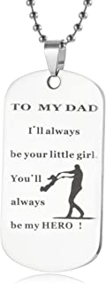 Dog Tag Gifts for Dad Father - Dad Gift Idea from Wife Daughter Son Kids, Stainless Steel, with Gift Box, Christmas Birthday Fathers for Men Husband