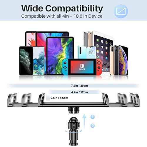Tryone Schwanenhals Tablet Halterung, Tablet Halter – Flexibler Verstellbarer Arm im Bett für Ipad/Handy/Switch/Samsung Galaxy Tabs/Kindle Fire HD usw, 76cm Gesamtlänge (Schwarz)