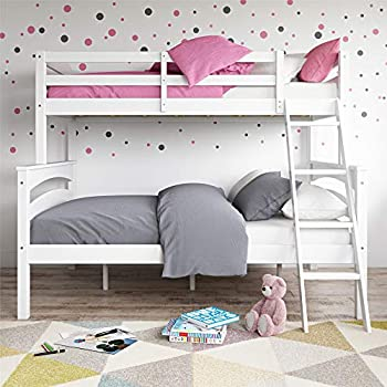 Dorel Living White Twin over Bunk Bed with Ladder