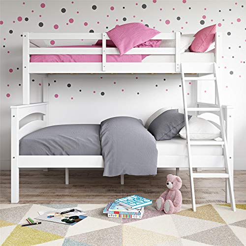 Dorel Living Brady Twin Over Full Solid Wood Kid#039s Bunk Bed with Ladder White