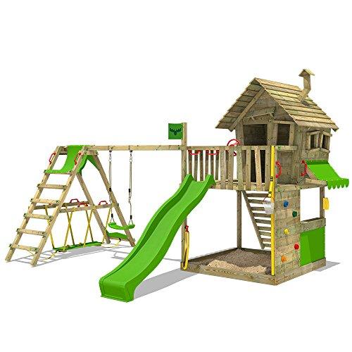 FATMOOSE Speeltoestel voor tuin GroovyGarden met enkele schommel SurfSwing en appelgroene glijbaan, Houten speeltuig, Klimtoestel voor buiten met zandbak en klimladder, Speelhuis voor kinderen