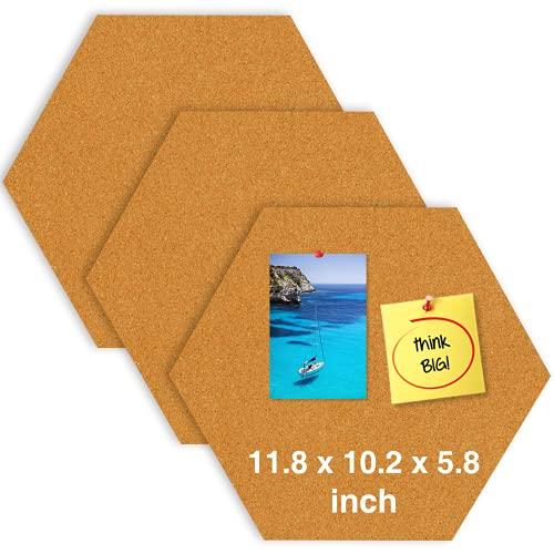 11.8'X 10.2' Hexagon Self Adhesive Cork Board 3 Pack, Vision Board, Memo Board, Bulletin Board for Office, Classroom or Home