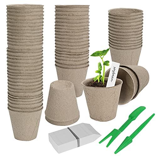 vasetti di torba per semina E-More Vasetti di Torba Plant Starters Protezione Ambientale biodegradabili vasi Set da Vasetti per Piantine, Biodegradabili, da Torba, Rotondi, 99 Piccoli Vasi