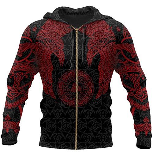 Vikingo tatuaje hermoso patrón 3D impresión sudaderas,Harajuku sudadera con capucha,Otoño Unisex manga larga suéteres, Sudadera con cremallera, M