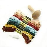Aguja de oscurecimiento de madera con hilo para tejer Darner Patch DIY seta tejer herramienta de costura artesanal artesanal