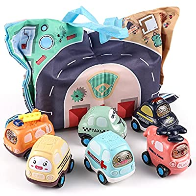 XQW Cartoon Inertia Baby Toy Cars with Storage Bag, 6 Pcs Push and Go Toys, Kids Toys Car for Girls Boys, Early Educational Toys for 1 2 3 4 5 6 Year Old Boys Girls, Birthday Gift for Toddlers from XQTOYS