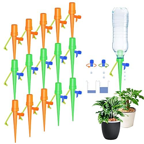 Fostoy Riego por Goteo Automático Kit, Ajustable Piezas Riego por Ggoteo Spike Sistema de Irrigación para Jardín Bonsáis y Flores, Ideal Dispositivo de Irrigación Automático en Vacaciones (15pcs)
