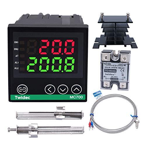 Twidec/Digital Display PID Temperature Controllers Thermostat ℉ ℃ Regulator AC 85V - 265V 72x72mm + K Sensor Thermocouple + Black Heat Sink and Solid State Relay SSR 40DA MC700-B11-SSR40