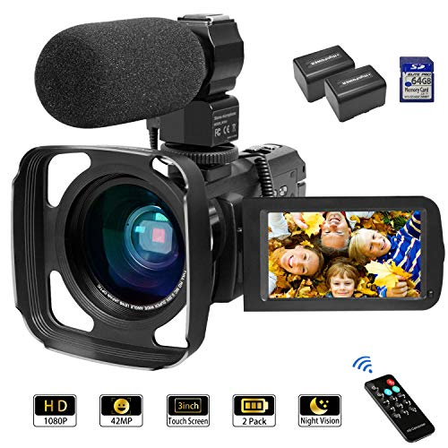 Camcorder Video Camera 1080P 42MP 16X Zoom IPS Touch Screen YouTube Vlogging Camcorder with...