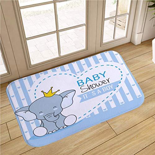 MinGz Cartoon Baby Bathroom Rug Carpet, Non Slip Absorbent Super Cozy,Baby Elephant Shower Boy,for Tub, Shower, Bath Room, Doorway,18x47 in