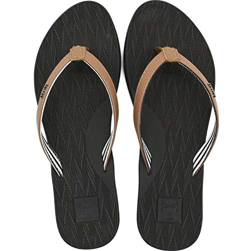 Womens Yoga Mat Flip Flops Non-slip Fashion Leather Straps Beach Comfortable Thong Sandals With Arch Support Outdoor Summer Brown Size 9