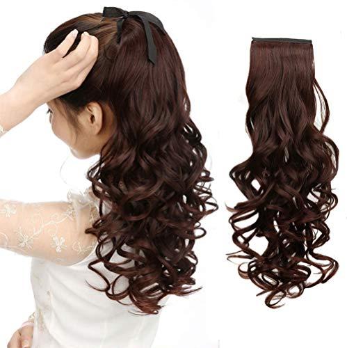 Queue de cheval à clip en cheveux véritables et bouclés avec extrémité ondulée