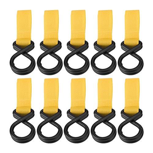 Ganchos para cochecito de bebé, 6 colores Colgador de cochecito opcional para instalar en pasamanos de coches para maletas para troncos de árboles(yellow)