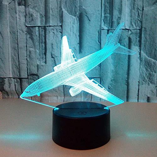 HNXDP Nuevo plano de aterrizaje Interfaz USB de siete colores Lámpara de ilusión táctil LED Lámpara de mesa Colorida luz nocturna 3D A1 Fondo negro
