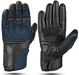 Hand Fellow Denim & Leather Guantes de Moto Guantes de Moto de Pantalla táctil Guantes de Moto Deportes al Aire Libre Guantes de Carreras (XXL)