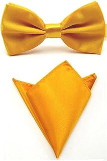Men Satin Solid Color Pre-tied Tuxedo Bowtie Bow Tie Handkerchief Pocket Square Set (Gold Yellow)