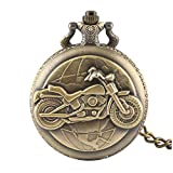 Herren Taschenuhr, Bronze Motorrad dicke Kette Taschenuhr Halskette Anhänger Herren Mann Geschenk,...