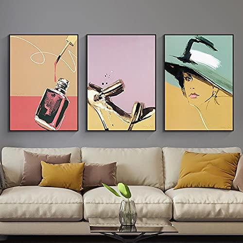 BLLXMX Pinturas en Lienzo, póster de Maquillaje, Estampado, Zapatos de Perfume, Imagen...