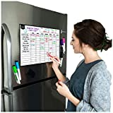 Magnetic Dry Erase Chore Chart for Multiple Kids and Adults: Fridge 17x12' - Includes 6 Whiteboard Markers and Eraser with Magnets - Daily Responsibility Rewards White Board for Toddlers or Teenagers