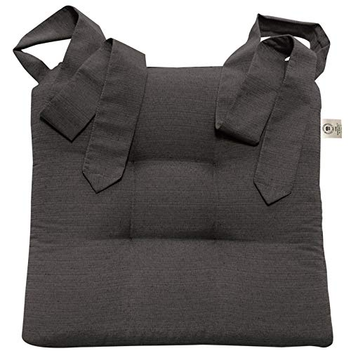 JEMIDI Stuhlkissen Sitzkissen mit Schleifenband Stuhlkissen Esszimmer Schleife Stuhl Kissen Rattanstühe Extra Dick Bequem Leinenlook (Anthrazit)