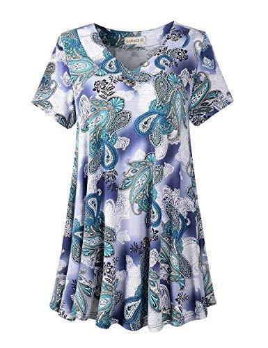 LARACE Women's Plus Size Tunic Tops Short Sleeve V Neck Floral Blouses Basic Flowy Leopard Print T Shirts for Leggings, A-Green03 5X