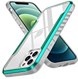 AIMOSIO Compatible with iPhone 12 pro max Case,Edge Shockproof [Military Grade Drop Tested] Back Crystal Clear Cases.Durable Metal Anodized Aluminum Frame+Flexible TPU+PC Protector.6.7 inch,Green