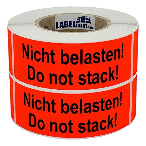 Labelident Warnetiketten auf Rolle 150 x 50 mm - Nicht belasten! Do not stack! - 1000 Versandaufkleber auf 1 Rolle(n), 3 Zoll Kern, Papier selbstklebend, leuchtrot