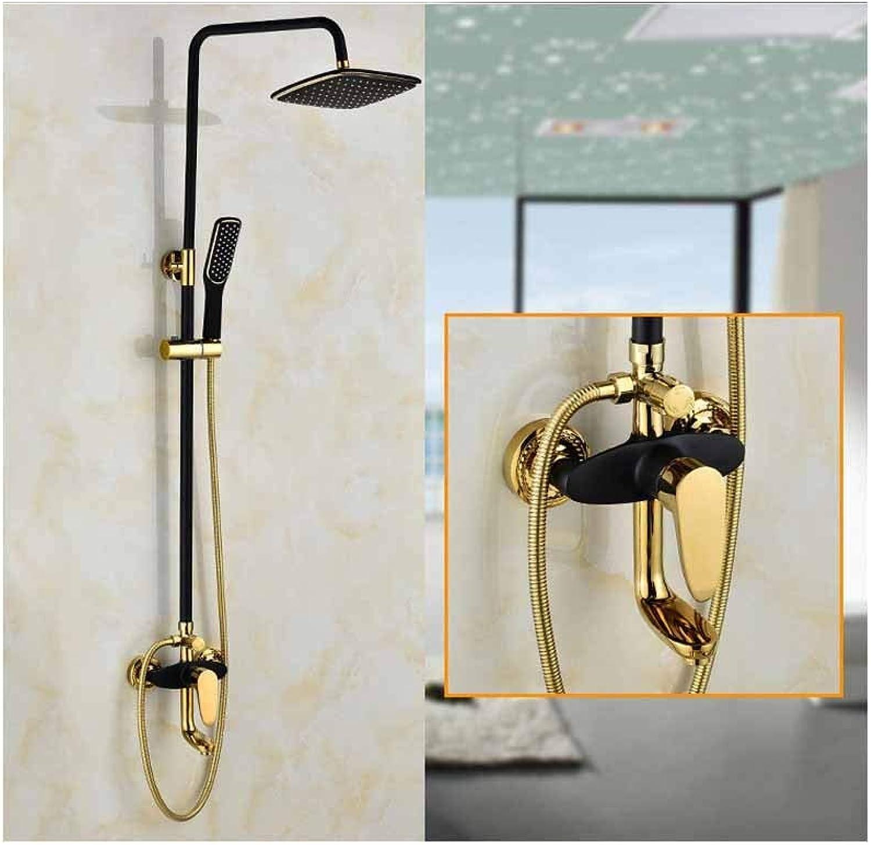 Regendusche Duschkopf Badezimmer-Duschset aus antikem Kupfer in Kupfer und Gold, Stil 2