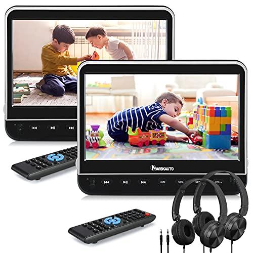 "NAVISKAUTO 2 10,1"" DVD Player Auto HDMI Eingang HD 1080P DVD Player Tragbar Kopfstütz Monitor mit Kopfhörer 1024*600 Memory SD USB bis 128GB AV In/Out 12V"
