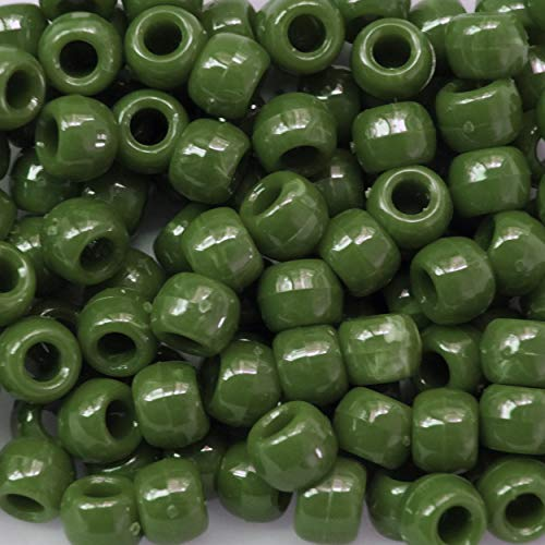 Jade Green Marbled Pony Beads Crow Made in USA 6x9mm
