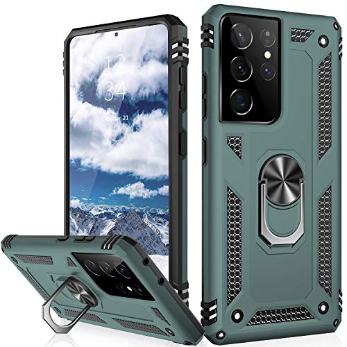 IKAZZ Galaxy S21 Ultra Case,Samsung S21 Ultra Cover Military Grade Shockproof Heavy Duty Protective Phone Case Pass 16ft Drop Test with Magnetic Kickstand for Samsung Galaxy S21 Ultra Pine Green