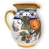 Italian Ceramic Pitcher Lemon - 33 oz Hand Painted Utensil Holder Or Carafe Design for Kitchen - Made in ITALY Tuscany - Italian Pottery Vase Jar for Wine - Home Decor Ceramics Dispenser -  Giotti Ceramiche - The art of Ceramics