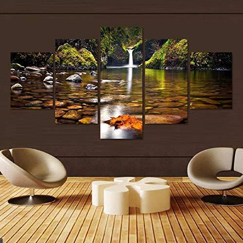 rkmaster-5 Stücke Von Leinwand Arbeitet Wasserfall Wasserfall Bach Wasser Herbst See Landschaft Großbild Druckplakat Rahmen Wandbild
