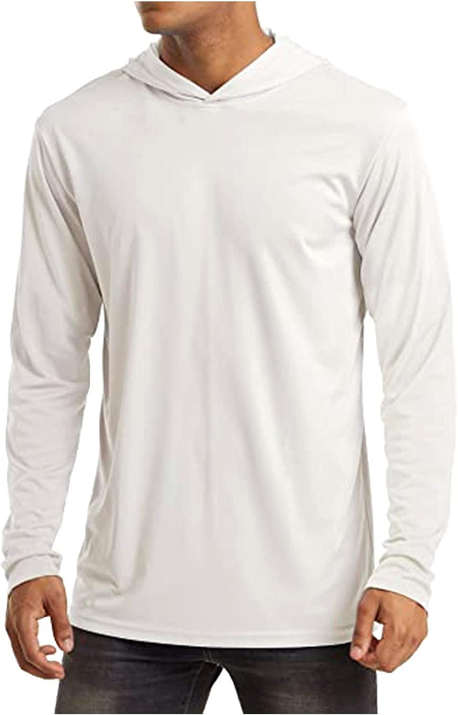 JSPOYOU Men's Hooded UPF 50+ Sun Protection T Shirts Long Sleeve Athletic Fishing Shirts Rash Guards T-Shirt Tops