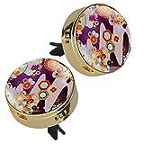 2 pz modello giapponese stampa auto aromaterapia olio essenziale diffusore medaglione chiusura magnetica con clip di sfiato 4 cuscinetti di ricarica (oro)