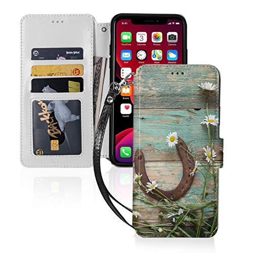 Yellow Barn Rustic Rusty Horseshoe for iPhone 11 Wallet Case with Card Holder, Kickstand Function, TPU Durable Shockproof, PU Leather Magnetic Closure Protective Flip Cover Case for 2019 iPhone
