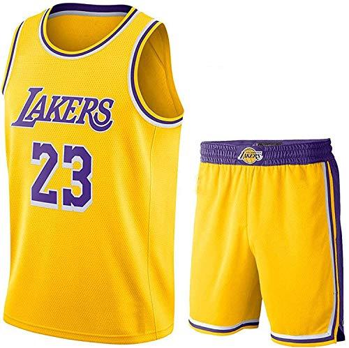 HHLK Herren-Basketballtrikot, Lakers # 23 Lebron James-Trikots , Sport-Basketballanzug, Print-Gedenk-Fan-Basketball-Shirt, atmungsaktives, schnell trocknendes T-Shirt, Xs-XXL XXL Yellowsuit