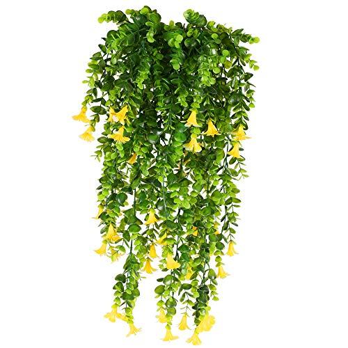 XHXSTORE 3PCS Planta Enredadera Artificial con Flores Amarillas Petunias Planta Colgante Artificial de Plastico para Exterior Interior Balcon Terraza Cocina Baño Maceta Jardinera Boda-80cm