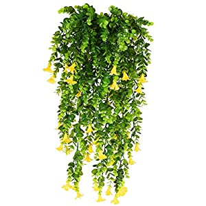 XHXSTORE 3Pcs Artificial Hanging Flowers Vine Garland Fake Silk Flowers Faux Hanging Vines Greenery Plastic Spring Plants for Wedding Home Balcony Garden Outdoor Ceremony Table Vase Basket Decor