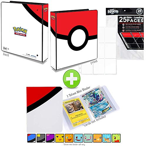 Totem World Poke Ball 3-Ring Binder with 25 9-Pocket Pages and a Mini Binder Collectors Album for Pokemon Cards image